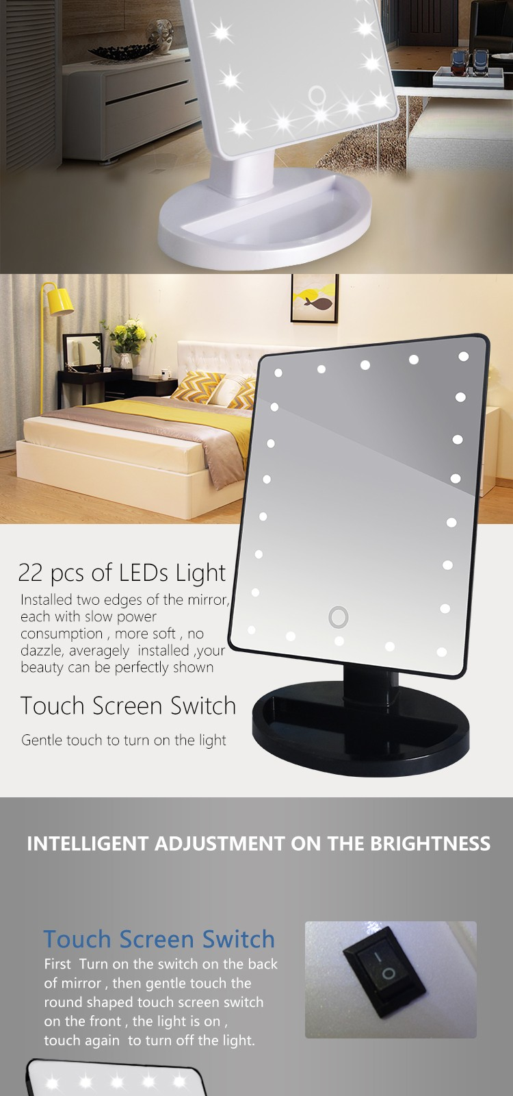 Touch Sensing Adjustable Brightness Makeup Mirror with light