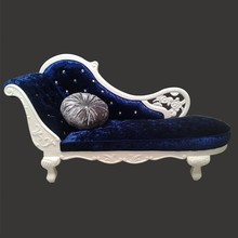 Dark Blue Velvet Upholstered Crystal Tufted Antique Chaise Lounge Furniture