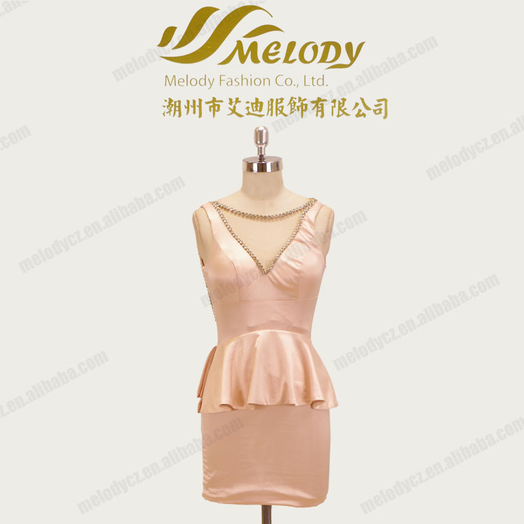 New coming fashionable illusion bodycon knee length casual wedding dress
