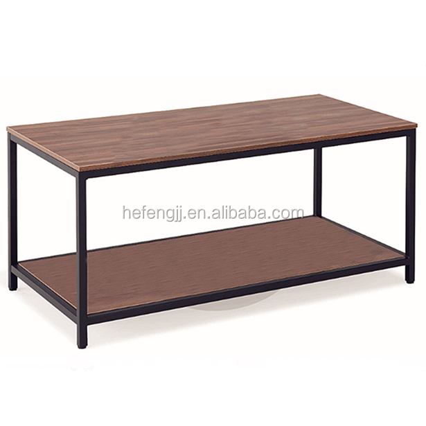 Contemporary mdf wood top center coffee table with metal frame house furniture