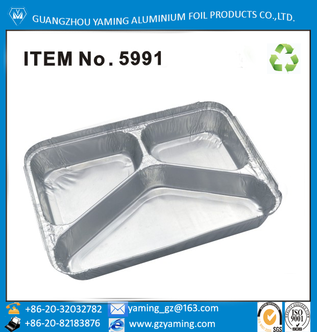 3 compartment restaurant food storage containers aluminium foil lunch box
