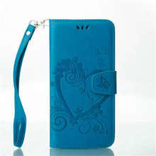 Multifunctional embossing heart PU leather flip card slot design mobile phone case for samsung J3 prime cover with hand strap
