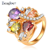 2018 New Design Rhinestone Ring Amethyst Flower Austrian Crystal Wedding Crown Ring Ri-HQ0341
