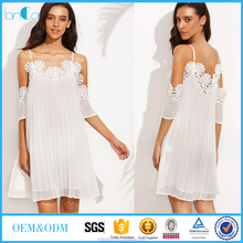 White Cold Shoulder Appliques Pleated Shift Dress Women Sexy Dress 2016