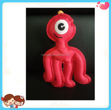 Wholesale Flat Red Big Eye Monster Shape Dog Chew Toy with Bibi Sound Chip