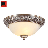 Classical E27 Silver Resin Round Ceiling