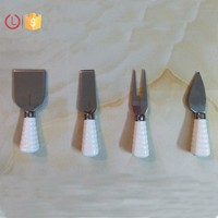 Porcelain handle set 4 cheese knife set for cheese