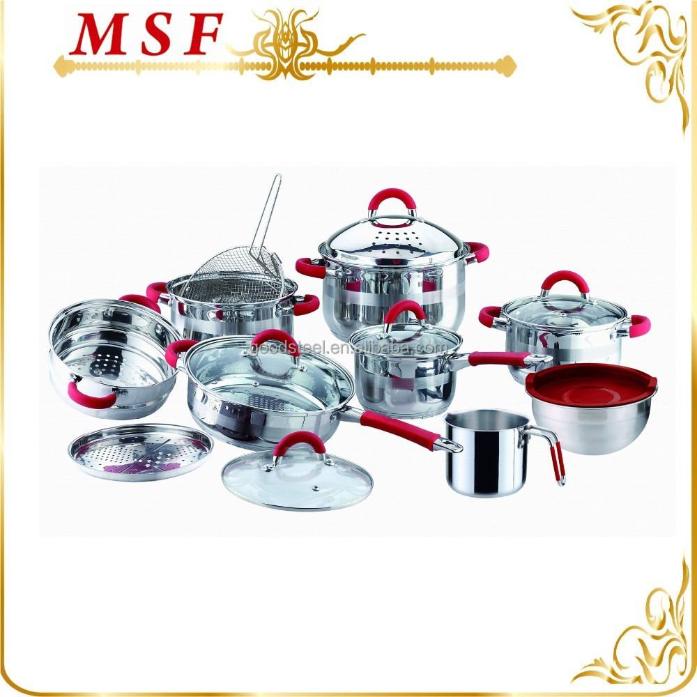 multi-use and practical stainless steel kitchenware and cookware with heat proof red silicon handles