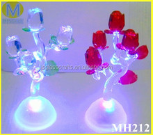 Promotional valentine led light glass roses,glass roses red,gift for her