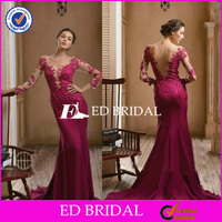 Sexy Mermaid Lace Appliqued Long Sleeve Rose Red Evening Dress