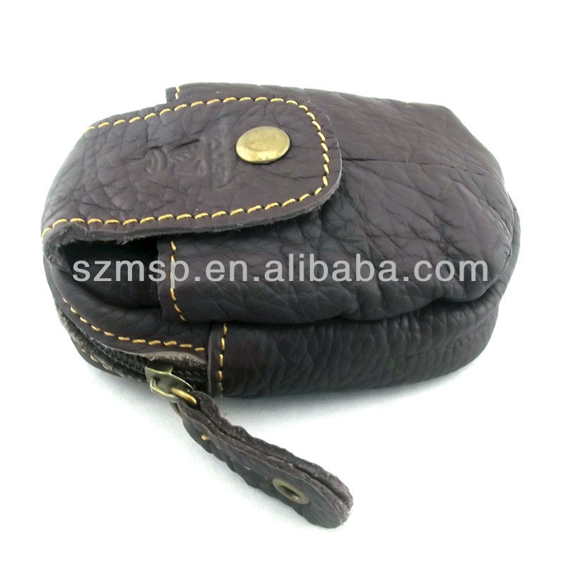 Genuine leather phone pouch with waist belt loop for man