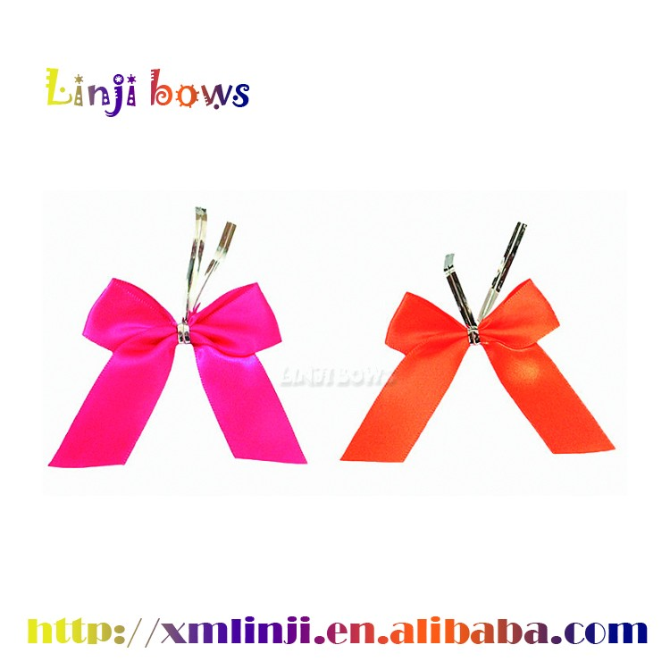 2016 wholesale satin ribbon bow for gift wrapping,decorative satin ribbon with wire twist
