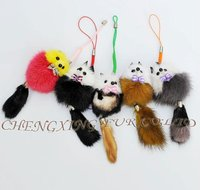 CX-P-24 Large Size Mink Fur Mobile Phone Promotional Key Ring