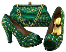 ME3301D Hot evening shoes with stones,women matching italian shoes and bag set BCH-39