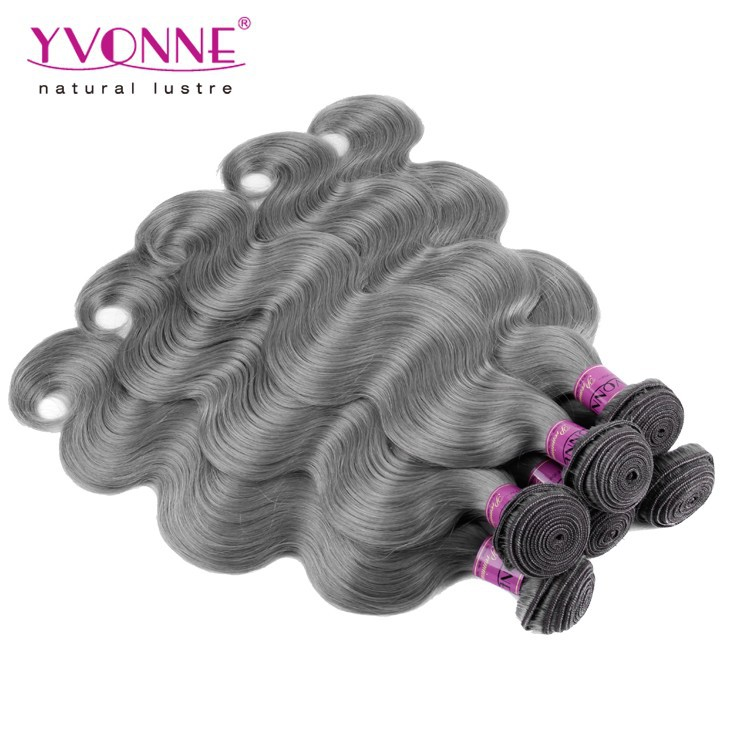 Brazilian Hair Grade 6A 16-20 Inchs Gray Remy Hair Extensions