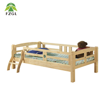Wooden Toddler Bed with Guard Rails Solid Pine Wood Junior Toddler