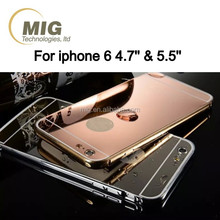 Mirror surface electroplating rose golden aluminum metal mobile phone case cover for iphone 6 and for apple 6s