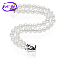 100% 925 sterling silver natural real pearl bracelet