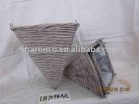 grey wash woven wood baskets with water proof liner in 3 size nested