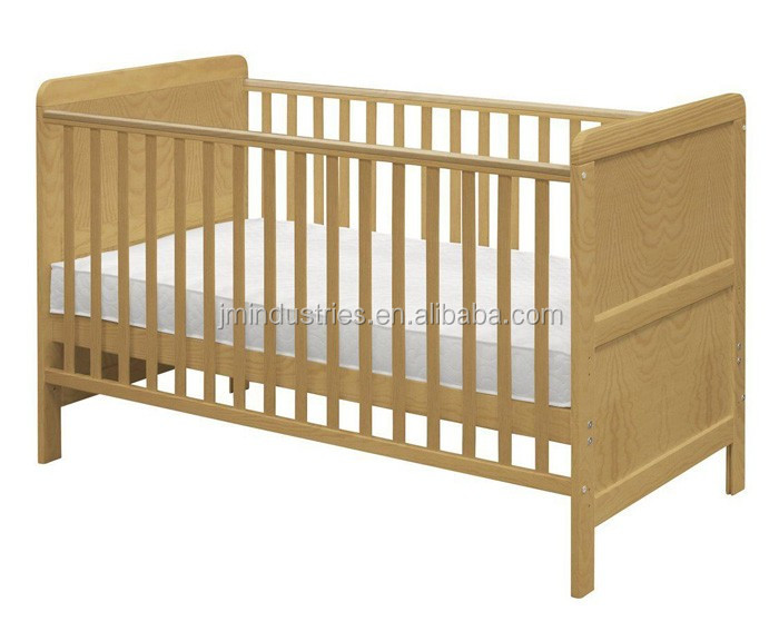 European Style Classic Pine Wood Baby Cot Bed Toddler Bed