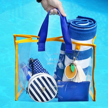 China Product Wholesale Clear Beach Transparent PVC <strong>Tote</strong> <strong>Bag</strong> For Beach Shopping
