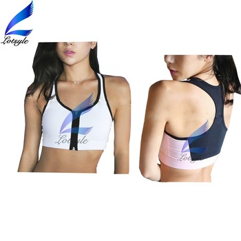 Shockproof Stylish Zipper Design Running Bra for Girls