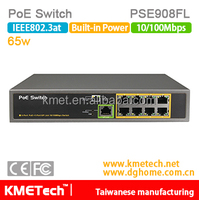 8 port 10/100/1000Mbps PoE Switch PSE908FL Support OEM 30W 802.3at for surveillance IP camera hot