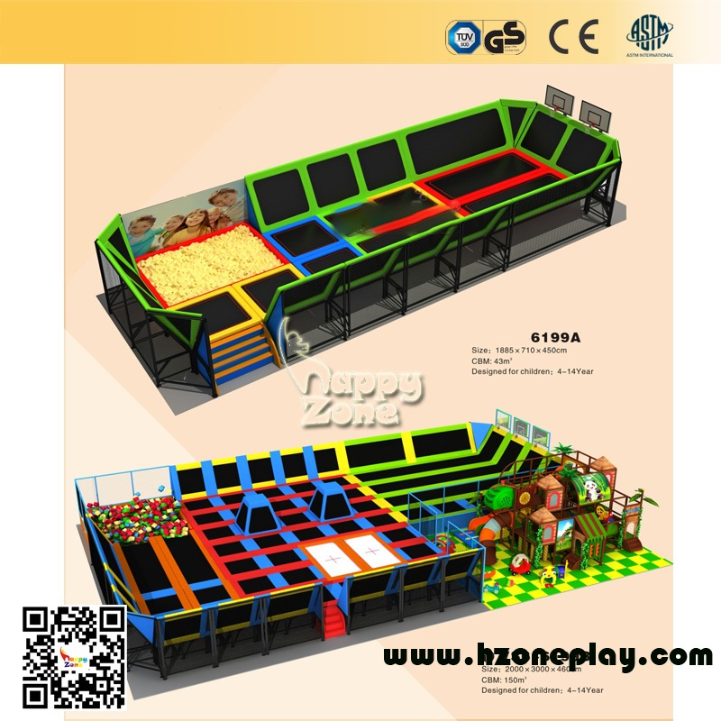 China Rectangle Colorful Rebound Indoor Outdoor Trampoline Amusement Park Factory on sales