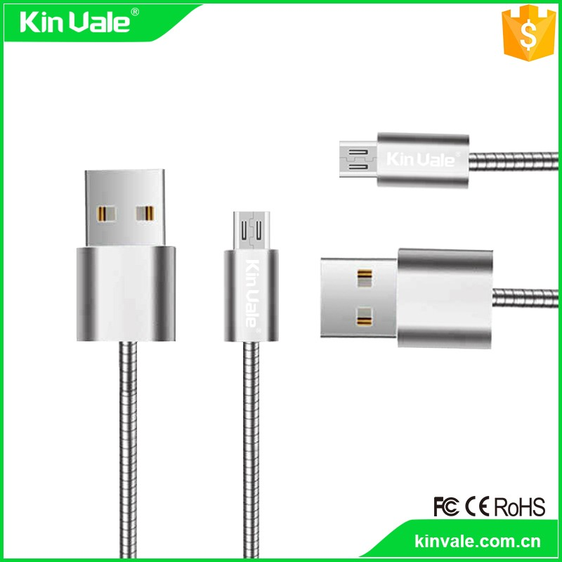 Shiny metal material usb data cable kinvale data cable of mobile phone equipments