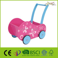Pink Wooden Baby Dolls Pram as Kids Stroller from China Factory