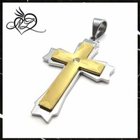 Christian jewelry religion gold metal cross pendant rhinestone cross
