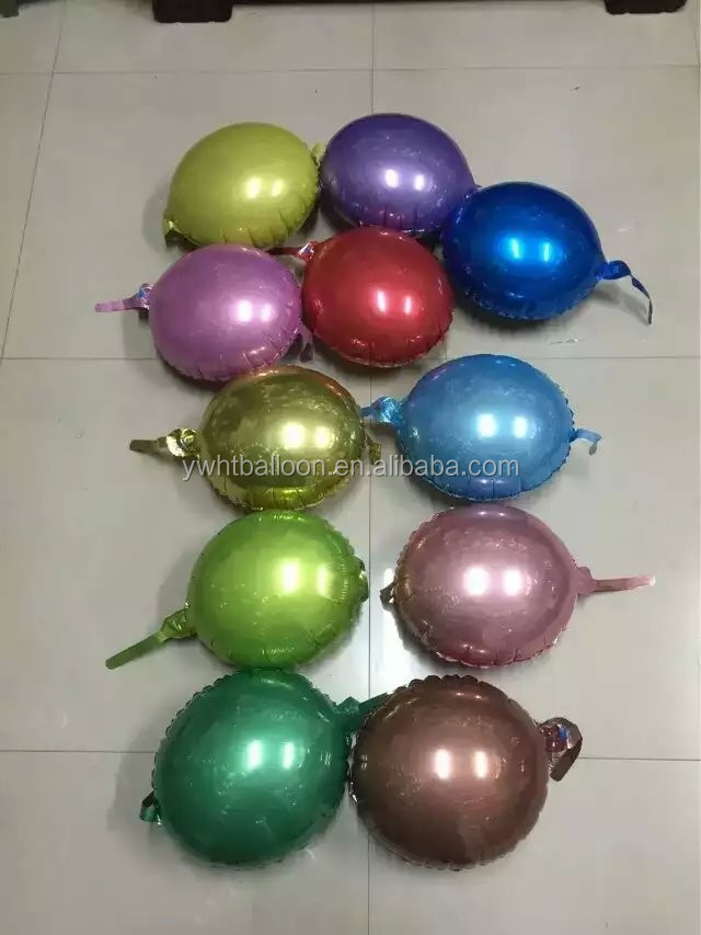 "12""New Design Tail Round Foil Balloon Normal Air Balloon Patented Product Of HuanTeng Balloon Party /Shopping mall Decoration"