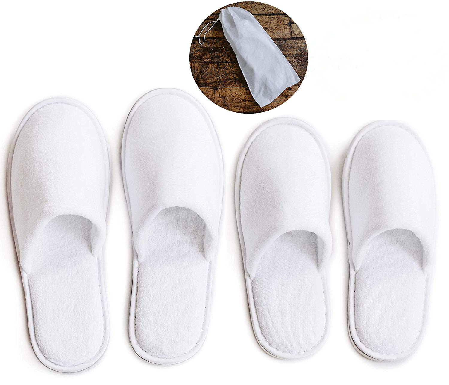 Cotton Velvet Closed Toe Slippers with draw string cloth bag