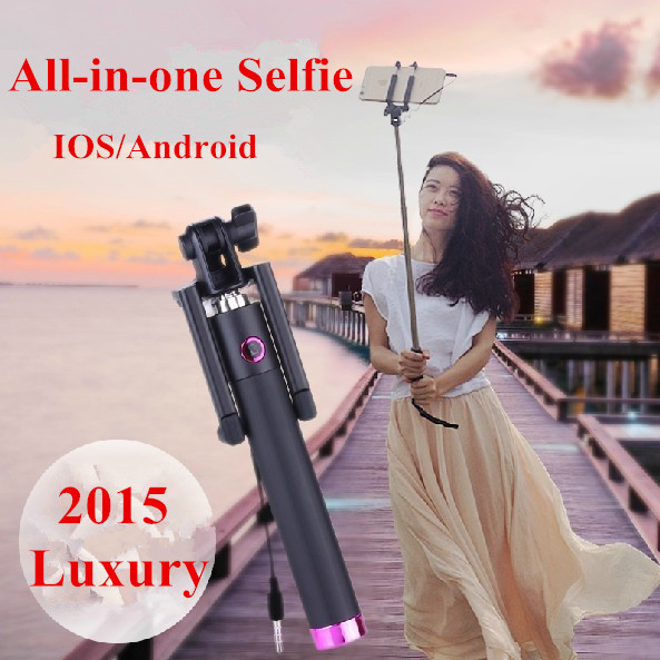 Wholesale Luxury folding wired Selfie Stick monopod for Samsung LG Android 4.2 iphone 6 5 IOS 5.0 perche selfies with selfie