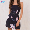 YIHAO OEM 2017 American Black Printed Short Dress Sleeveless Backless Latest Modern Casual Women Summer Dresses