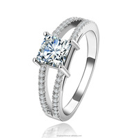 Wedding Rings for Women White Gold Plated Square stone CZ diamond rings Engagement bague bijoux fashion Jewelry LTR141
