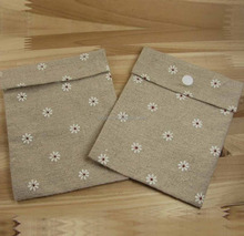 flower pattern printed jute pouch with button