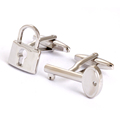 Novelty cufflinks sliver key lock cufflinks