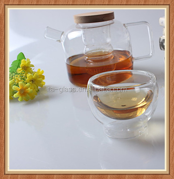 Chinese made double tea pot kettle set tea pot ceramic glass tea pot with infuser