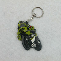 Colorful cool motorcycle design custom soft PVC rubber keyring keychain manufacturer