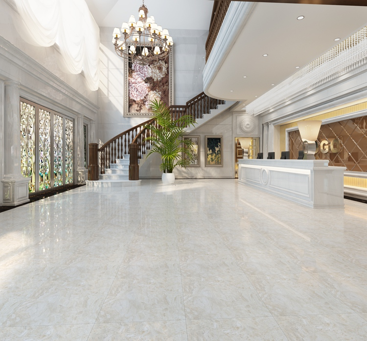 Italian Vitrified Tile Hotel Lobby Luxury Marble Design