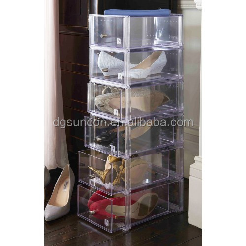 Factory Custom clear acrylic shoes storage drawers stackable container nontoxic lucite makeup organizer