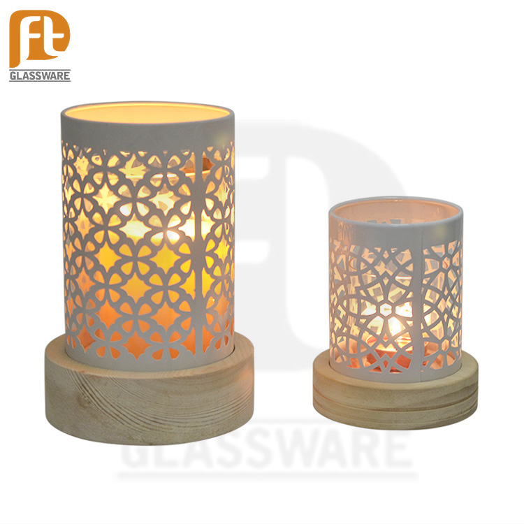PFT high end decorative tall glass candle holder with wooden and iron cover for Home Decoration