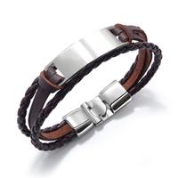 AFXSION High quality alloy custom jewelry handmade leather rope multi-layer men's bracelet creative simple retro bracelet