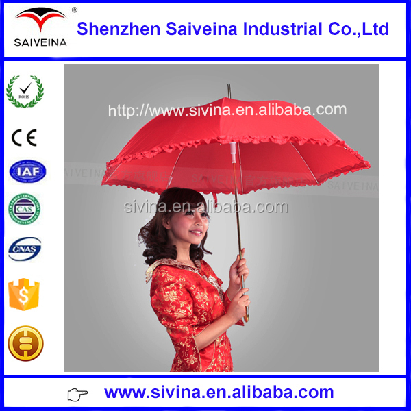 High quality Handmade Customized Red Bridal Lace Chinese style wedding Umbrella with curved golden handle