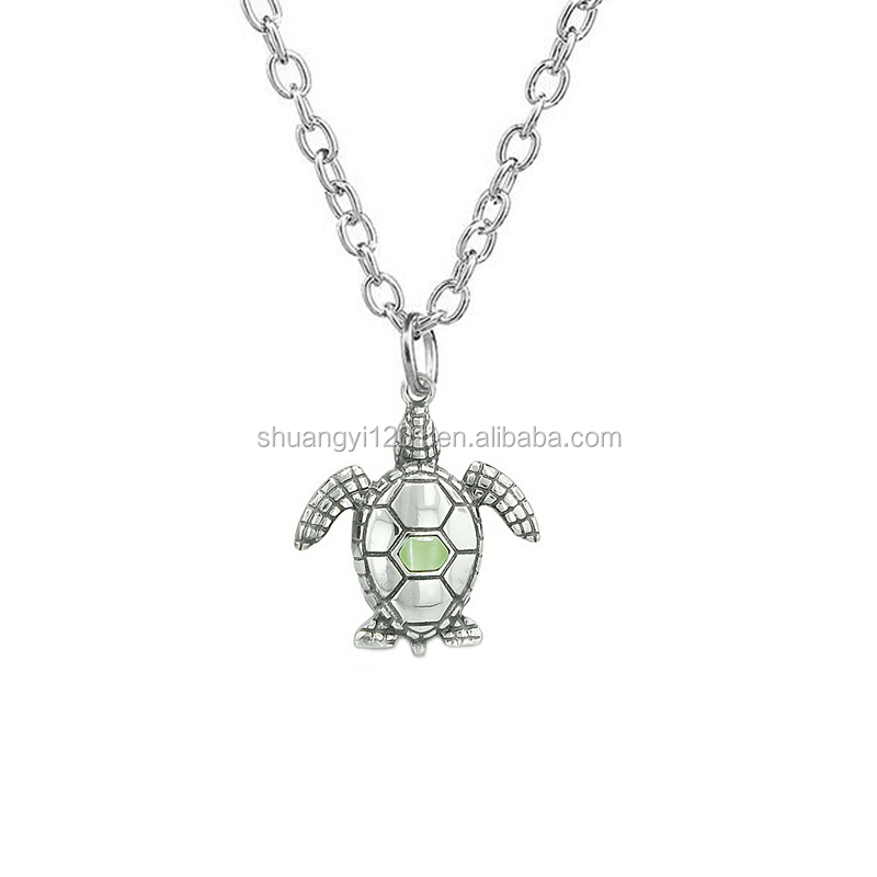 Turtle Necklace Pendant silver plated with Synthetic Blue Opal jewelry