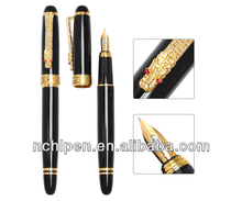 luxury dragon fountain pen with gemstone