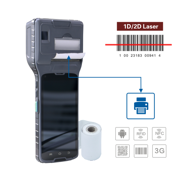 pda mobile smartphone mobile data terminal with printer / Biometric reader / 3G / <strong>WIFI</strong> / bluetooth / GPS pda with android os