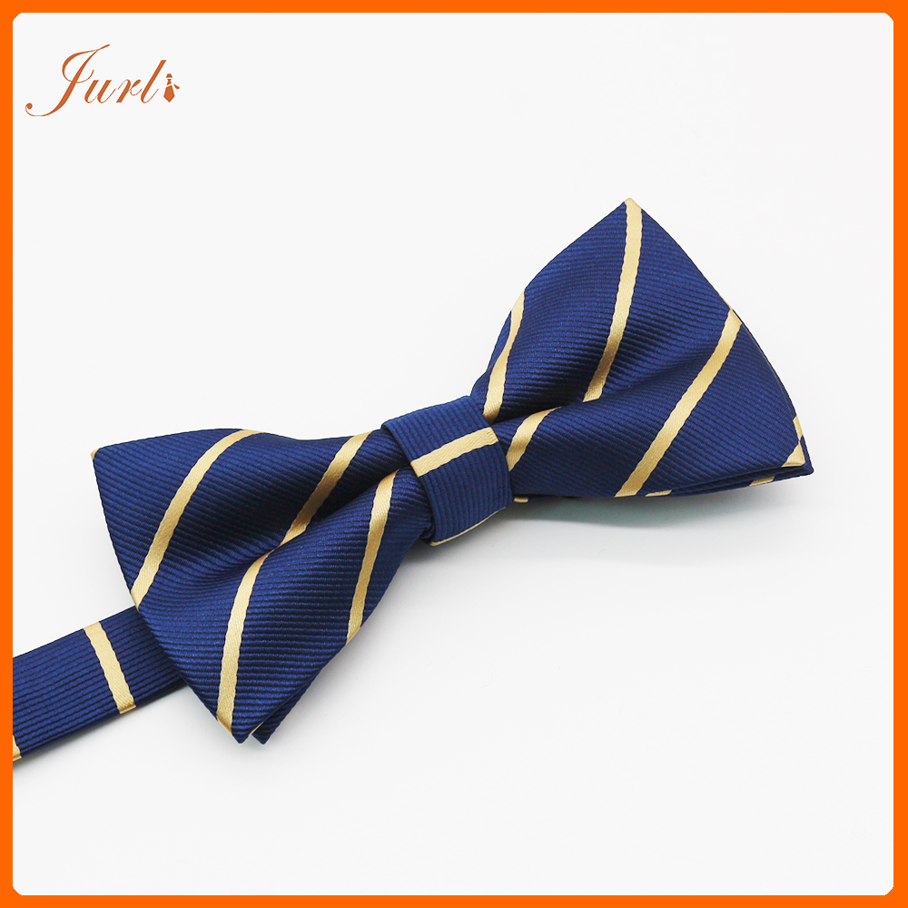 Fashion Men'S Navy Stripe Woven Bowtie For Party