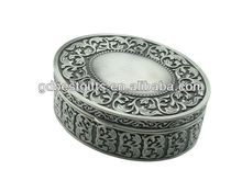 2013 antique carved metal jewelry box, trinket box